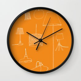 Lamps, lamps, lamps in orange background Wall Clock