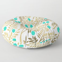 Gold & Turquoise Olive Branches Floor Pillow