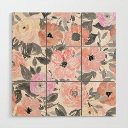 Elegant simple watercolor floral Wood Wall Art