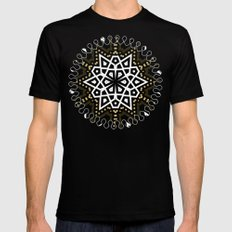 Black White + Gold Geometric Star MEDIUM Black Mens Fitted Tee