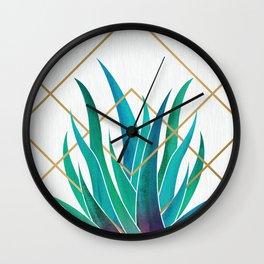 Modern Succulent - metallic accents Wall Clock