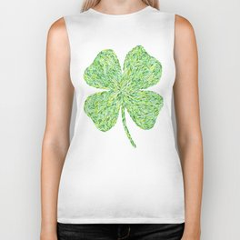 Shamrock Clover Watercolor Biker Tank