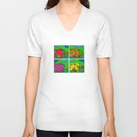 cows V-neck T-shirts featuring Cows by Stefan Stettner