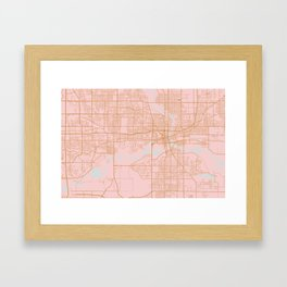 Pink and gold Des Moines map, Iowa Framed Art Print