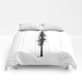 Love in the forest - a couple and their dog under a solitary, towering Douglas Fir tree Comforters