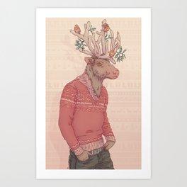 Prancer le Renne Art Print