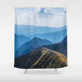 flying around in the mountains Shower Curtain