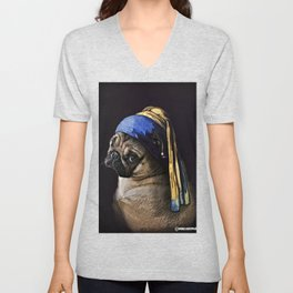 Pug with a Pearl Earring Unisex V-Neck