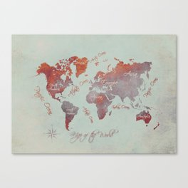 world map 142 red grey #worldmap #map Canvas Print