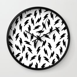 Black and white thunderbolt Wall Clock