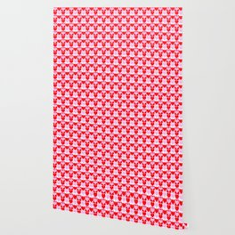 Love Heart Red Pink and White Check Pattern Wallpaper