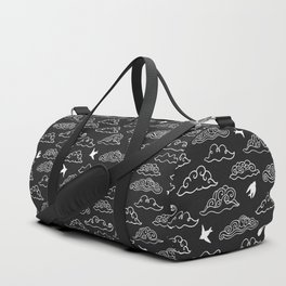 Black Doodle clouds and swallows. Cloudscape pattern with birds. Duffle Bag