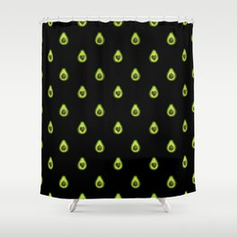 Avocado Hearts (black background) Shower Curtain