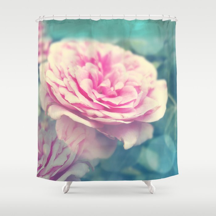 Bokeh pink rose Shower Curtain by designsbym | Society6