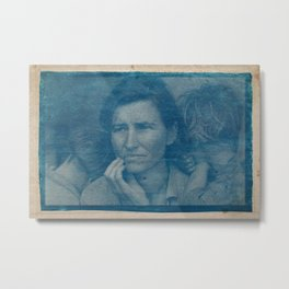 Cyanotype Photo of Dorothea Lange, Migrant Mother, 1936 Metal Print
