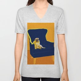 Dog in a chair #2 PUG Unisex V-Neck
