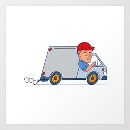 Delivery Man Driving Truck Van Cartoon Art Print