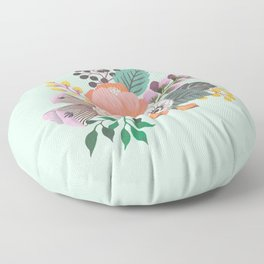 Soft Florals on Mint Floor Pillow