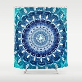 Mandala Zero Blue Spiritual Zen Bohemian Hippie Yoga Mantra Meditation Shower Curtain