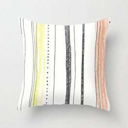 sketchy stripes Throw Pillow