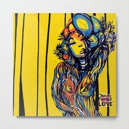 Yellow Lady Deeply Rooted In Love Metal Print