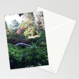 Kubota Garden - red bridge landscape photo Stationery Cards