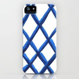 Painterly Blue Geo Grid iPhone Case