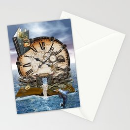 Steampunk Ocean Dragon Library Stationery Cards