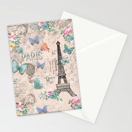 Paris - my love - France Nostalgy - pink French Vintage Stationery Cards