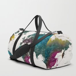Watercolor world map with cities, Charleena Duffle Bag