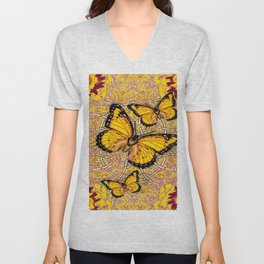 Yellow Monarch Butterflies Burgundy Floral Fantasy Unisex V-Neck