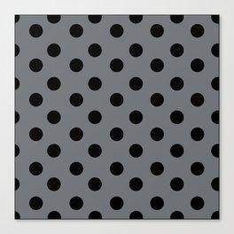 Grey & Black Polka Dots Canvas Print