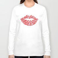 lip Long Sleeve T-shirts featuring Red lip by saralucasi