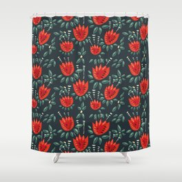 Abstract Red Tulip Floral Pattern Shower Curtain
