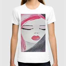 Shy Girl. Abstract Pink Girl. Pink Lips. Pink Hair. Jodilynpaintings. Eyelashes. Gift for All Girls. T-shirt