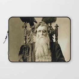One-eyed Bearded Man with Ravens black and white photograph Laptop Sleeve