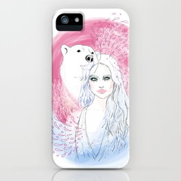 Girl and Polar Bear iPhone Case
