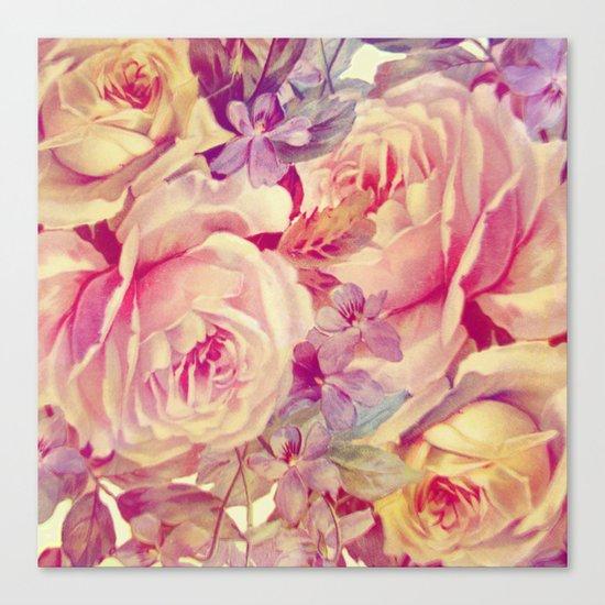 soft vintage roses Canvas Print