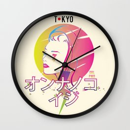 Tokyo Girl Power Japanese Katakana Wall Clock