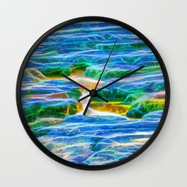 Abstract rock pool in the rough rocks in Queensland Wall Clock