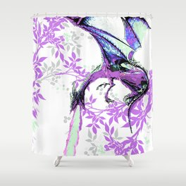 DRAGON AND PURPLE LEAVES Shower Curtain