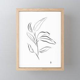 Stem: Botanical Print in White and Black Framed Mini Art Print