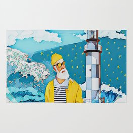 Sailorman and lighthouse Rug