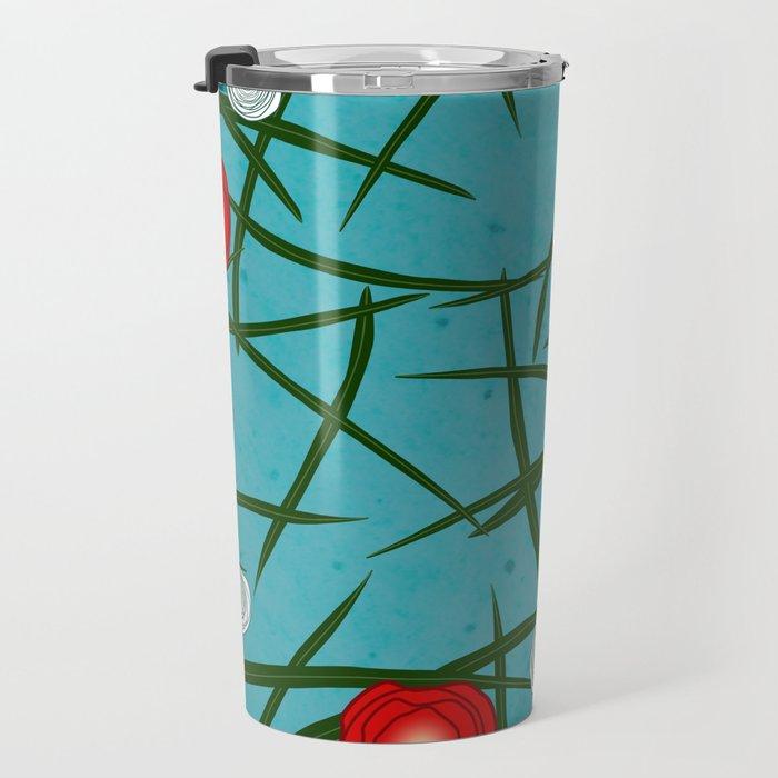 Japenese Water Flowers Pattern Travel Mug