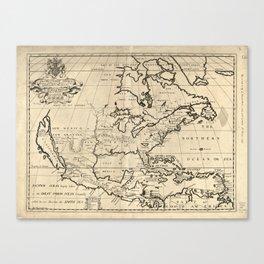 North America Map (1722) Canvas Print
