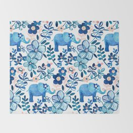 Blush Pink, White and Blue Elephant and Floral Watercolor Pattern Throw Blanket