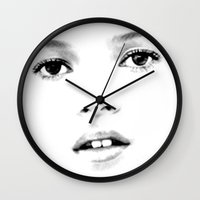 kate moss Wall Clocks featuring Kate Moss T by Mauricio Vargas