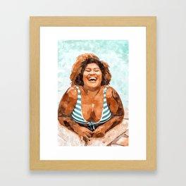 Curvy & Happy #painting #illustration Framed Art Print