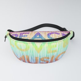 """Quote """"Peace, love and music""""on rainbow background Fanny Pack"""