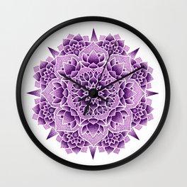 Purple Lotus Mandala Wall Clock